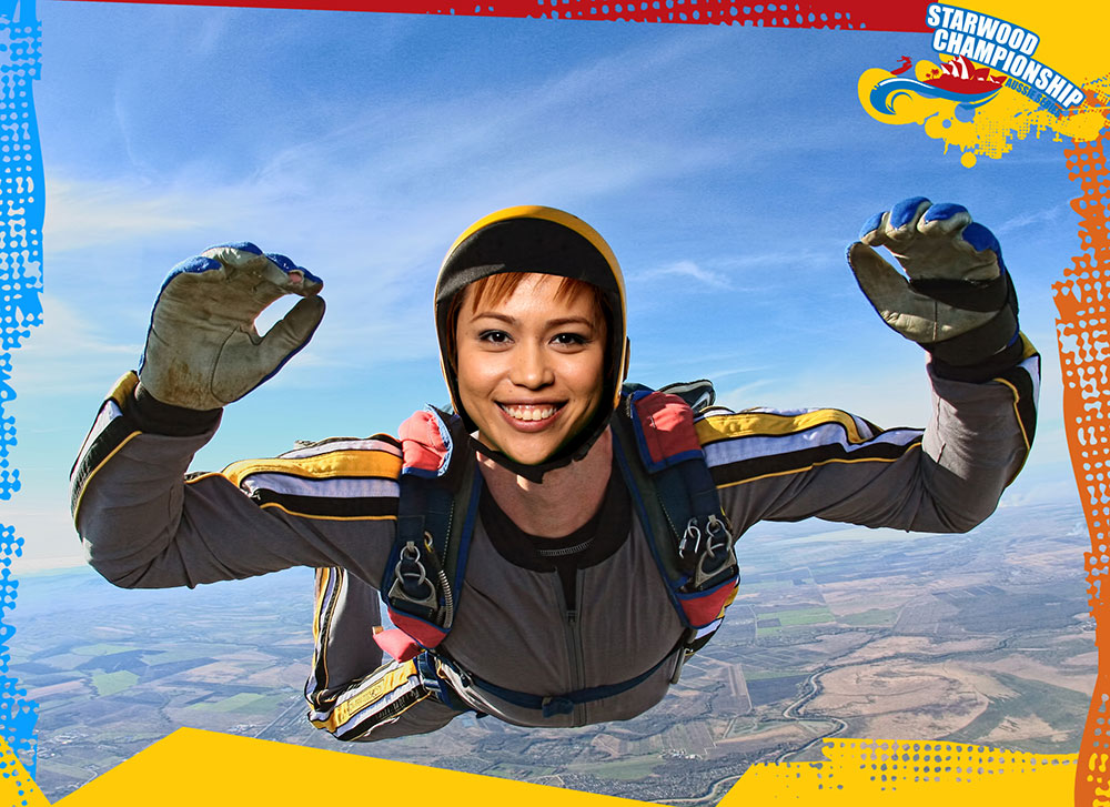 lady sky diving using green screen photography