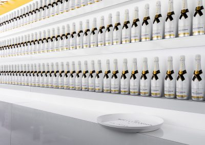 White Moet Chandon Bottles in line
