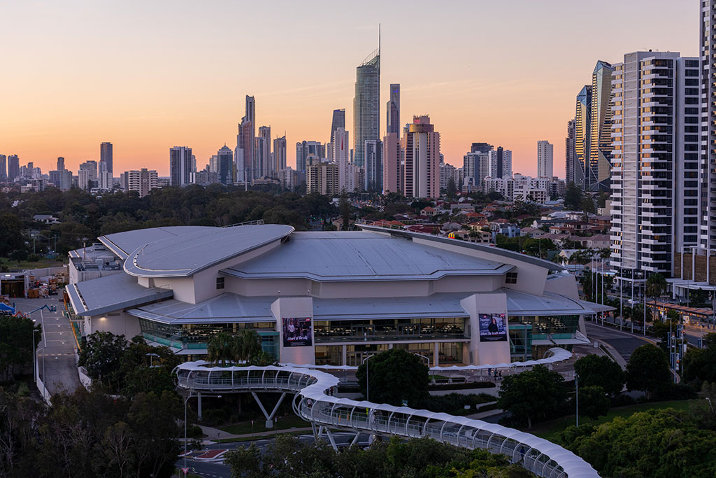 Gold Coast Convention and Exhibition Centre at sunset
